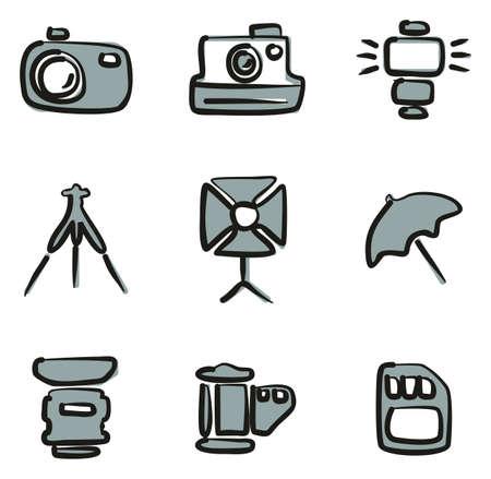 Camera icons set illustration.