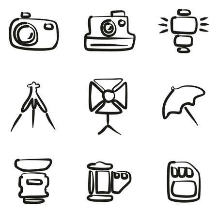 Camera icon set illustration. Illustration
