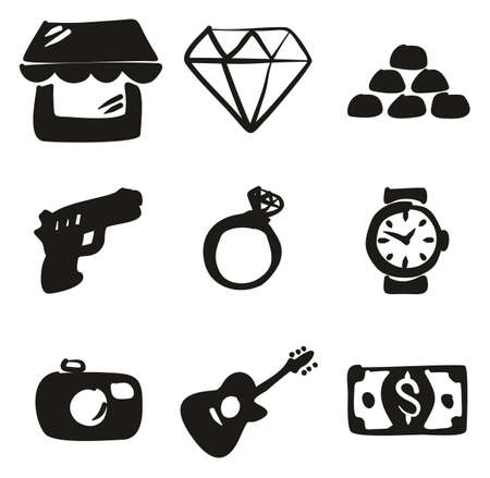 Pawn Shop Icons Freehand Fill.