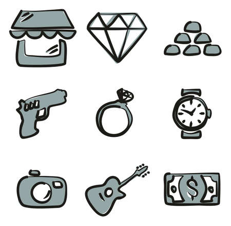 Pawn Shop Icons Freehand 2 Color.