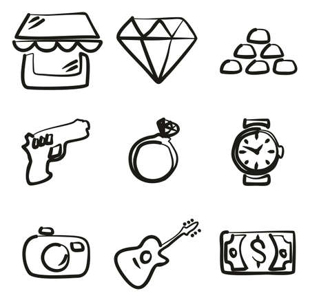 Pawn Shop Icons Freehand.