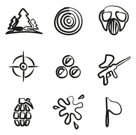 Iconos de paintball a mano alzada Foto de archivo - 86565706