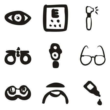 Optometry Icons Freehand Fill