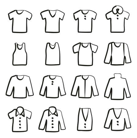 Shirt Icons Freehand fill. Illustration