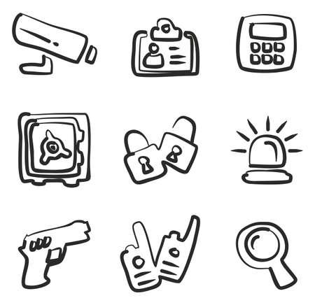 tresspass: Security Icons Freehand. Illustration