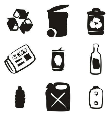 Recycling Icons Freehand Fill.