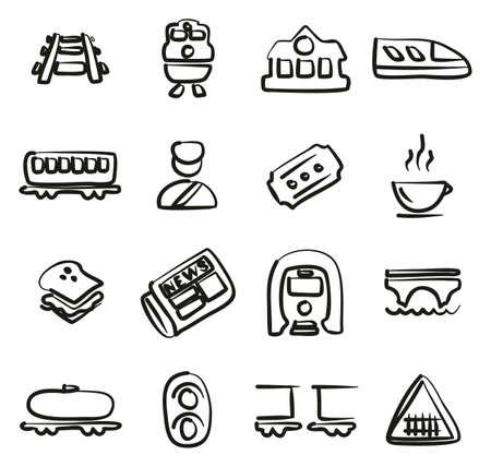 Spoorweg pictogrammen uit de vrije hand. Stockfoto - 87156258