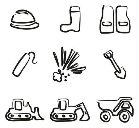 Quarry Icons Freehand. Vektorové ilustrace