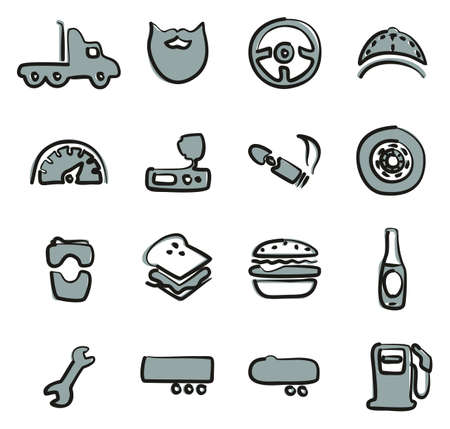 Truck Driver Icons Freehand 2 Color