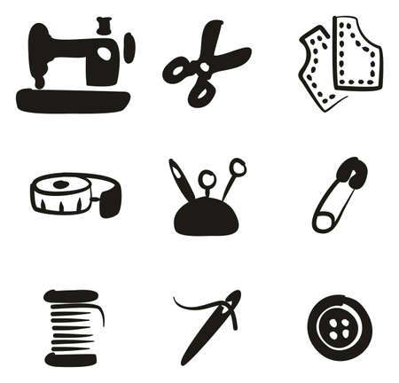 Tailor Shop Icons Freehand Fill