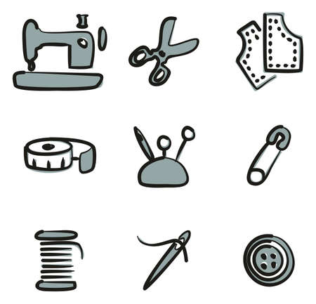 Tailor Shop Icons Freehand 2 Color