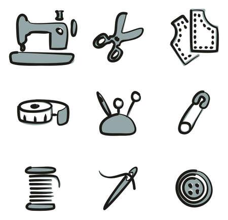 Tailor Shop Icons Freehand 2 Color Vektorové ilustrace