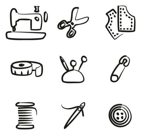Tailor Shop Icons Freehand