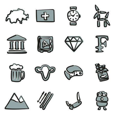 Switzerland Icons Freehand 2 Color