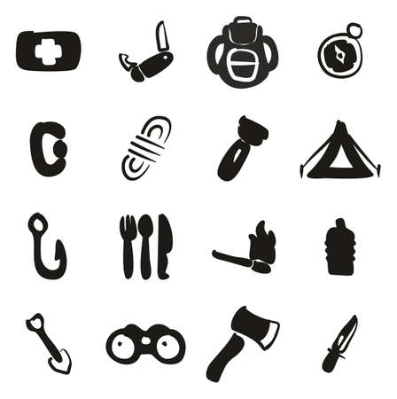 Survival Kit Icons Freehand Fill Illustration