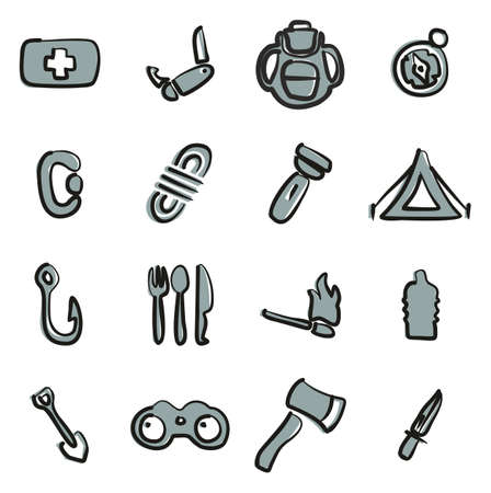 Survival Kit Icons Freehand 2 Color