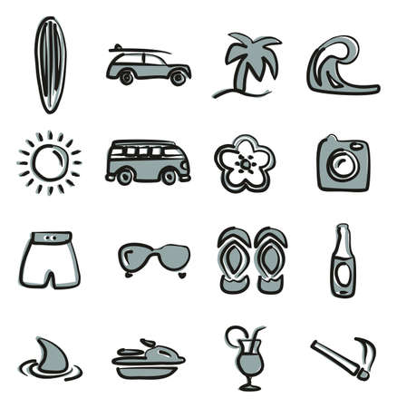 Surfing Icons Freehand 2 Color