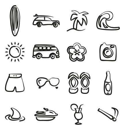 Surfing Icons Freehand