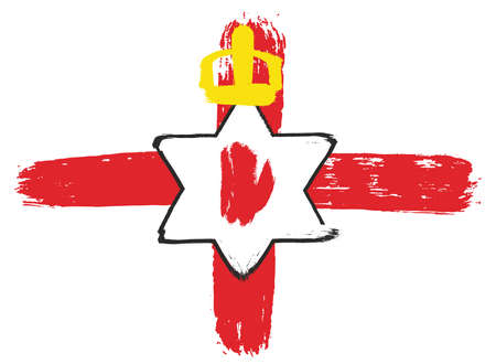ulster: Northern Ireland Ulster Banner Flag Vector Hand Painted with Rounded Brush