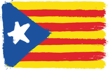 civil rights: Catalonia Civil Flag Vector Hand Painted with Rounded Brush Illustration