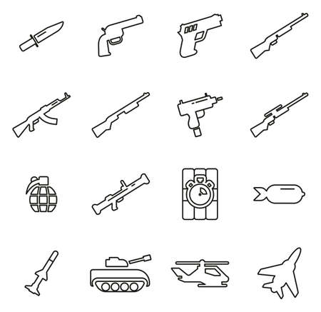 Weapons Icons Thin Line Vector Illustration Set