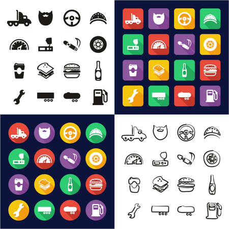 Truck Driver All in One Icons Black & White Color Flat Design Freehand Set Illustration