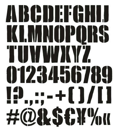 Modern Bold Crate Stencil Font with Uppercase Letters, Numbers Stock Illustratie