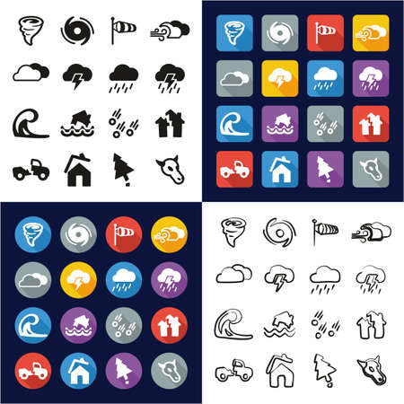 Tornado All in One Icons Black & White Color Flat Design Freehand Set Illustration