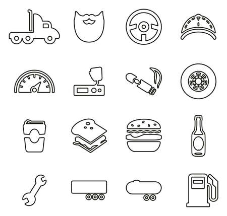 Truck Driver Icons Thin Line Vector Illustration Set