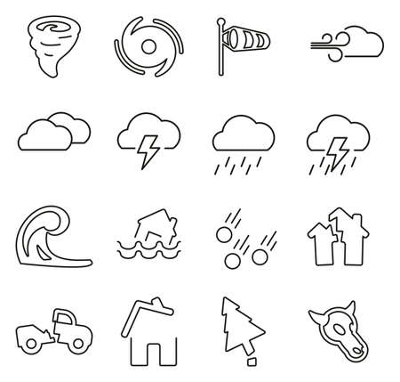 Tornado or Hurricane or Storm Icons Thin Line Vector Illustration Set Illustration
