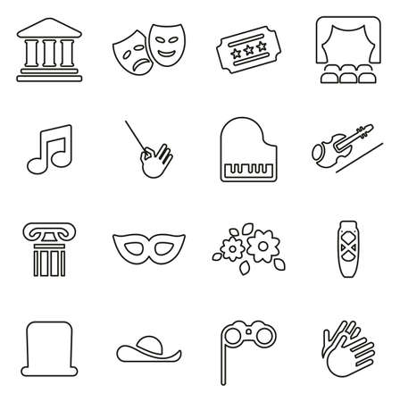 Theater Icons Thin Line Vector Illustration Set