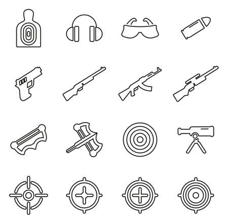 Shooting Range Icons Thin Line Vector Illustration Set