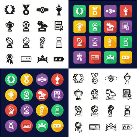 Reward Or Prize All in One Icons Black & White Color Flat Design Freehand Set Illustration