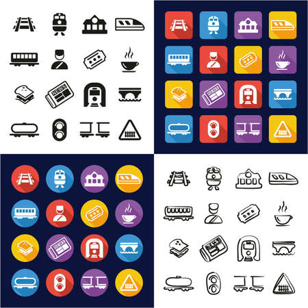 Railroad All in One Icons Black & White Color Flat Design Freehand Set Ilustrace