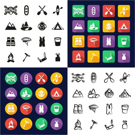 Rafting All in One Icons Black & White Color Flat Design Freehand Set