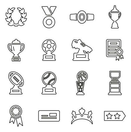 Reward or Prize or Trophy Icons Thin Line Vector Illustration Set
