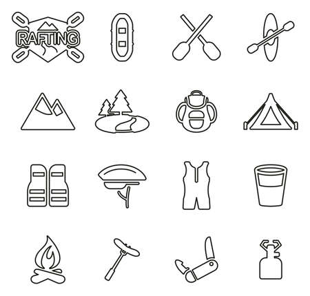 Rafting or Outdoor Activity Icons Thin Line Vector Illustration Set