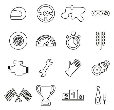 Racing Icons Thin Line Vector Illustration Set Vektorové ilustrace