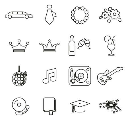 Prom Night Icons Thin Line Vector Illustration Set