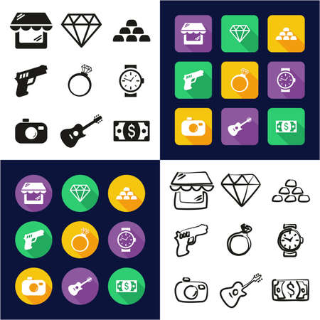 Pawn Shop All in One Icons Black & White Color Flat Design Freehand Set Vettoriali