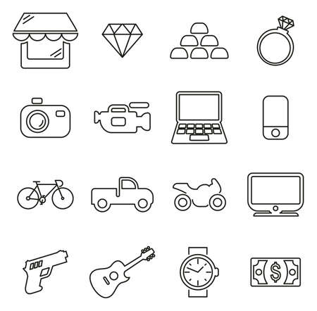 Pawn Shop or Second Hand or Thrift Store Icons Thin Line Vector Illustration Set