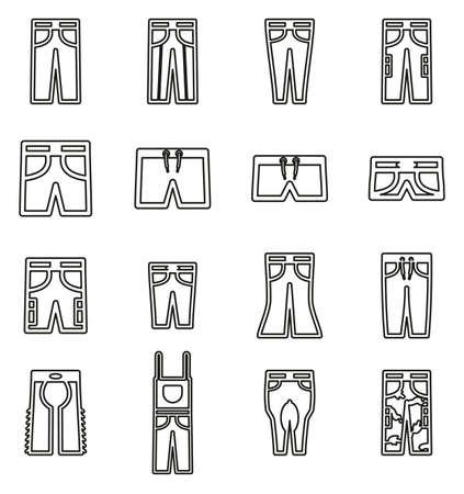 Pants Long & Short Icons Thin Line Vector Illustration Set