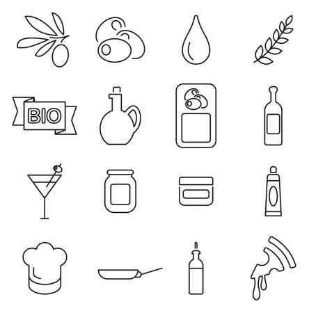 Olive or Olive Oil Icons Thin Line Vector Illustration Set