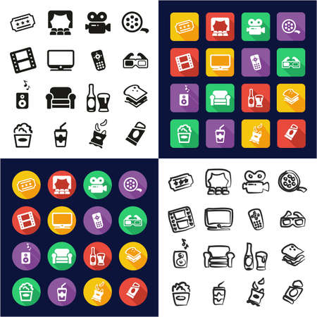 Movie Night All in One Icons Black & White Color Flat Design Freehand Set Illustration