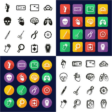 Morgue All in One Icons Black & White Color Flat Design Freehand Set Illustration