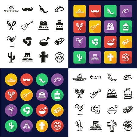 Mexican Culture All in One Icons Black & White Color Flat Design Freehand Set