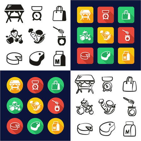 Market Place All in One Icons Black & White Color Flat Design Freehand Set Ilustrace