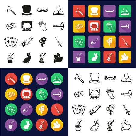 Magic All in One Icons Black & White Color Flat Design Freehand Set