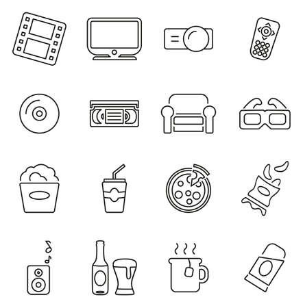 Movie Night at Home Icons Thin Line Vector Illustration Set  イラスト・ベクター素材