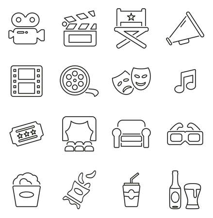 Movie Making or Movie Industry & Cinema Icons Thin Line Vector Illustration Set Illustration
